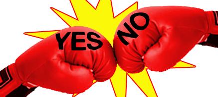 boxing gloves yes v no